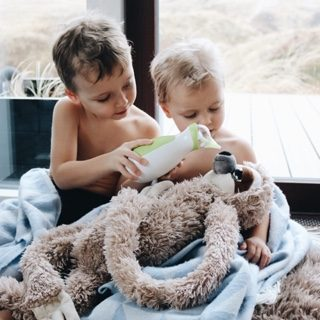 Two brothers with the Nosiboo Go Nasal Aspirator and a plush sloth